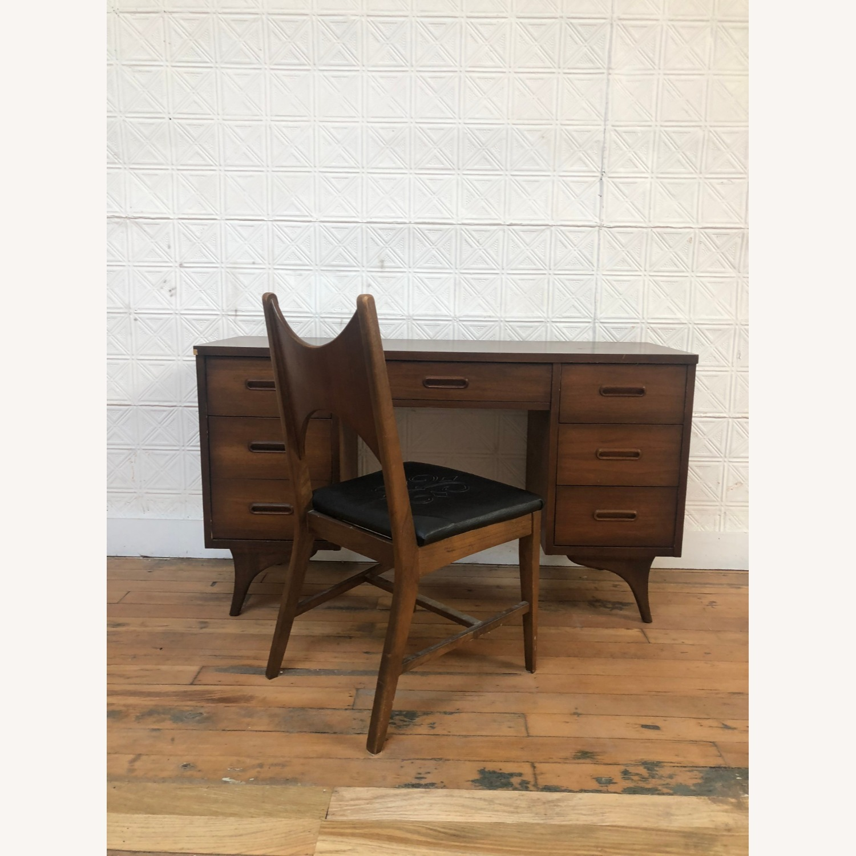 Mid Century Walnut Chair with Black Vinyl Seat - image-4