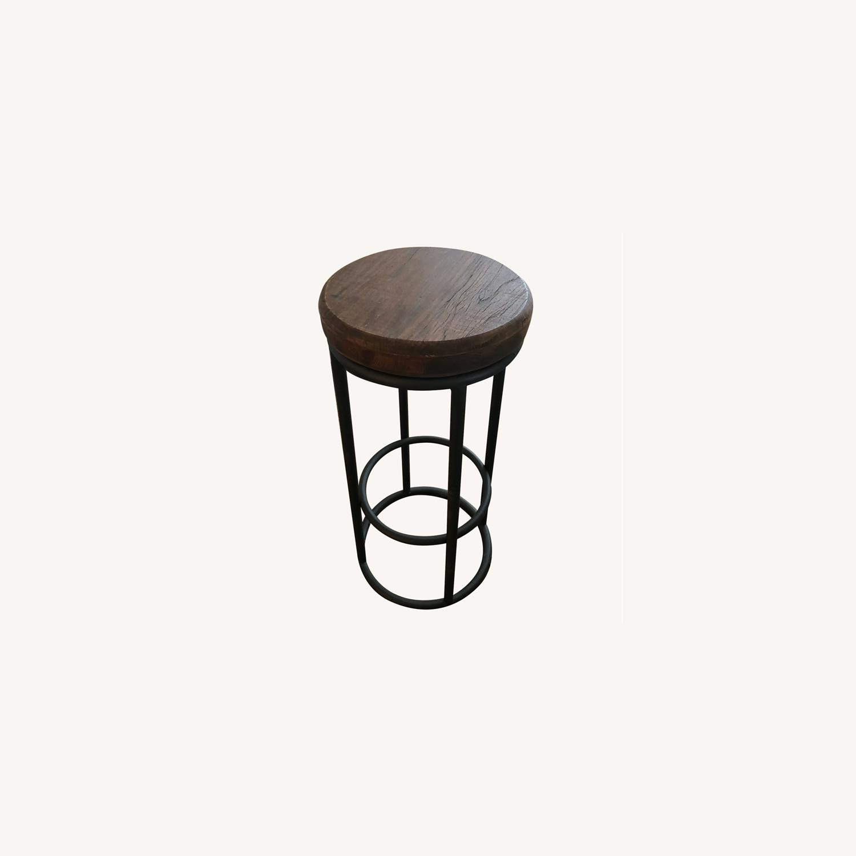 Worn Wood Counter Stool - image-0