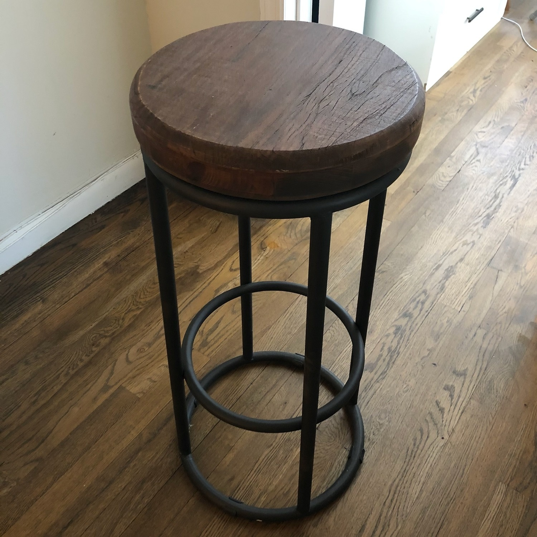 Worn Wood Counter Stool - image-1