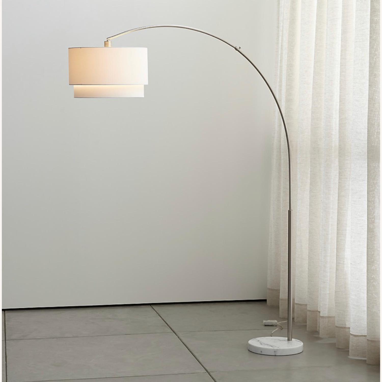 Crate and Barrel Meryl Arc Floor Lamp White - image-1