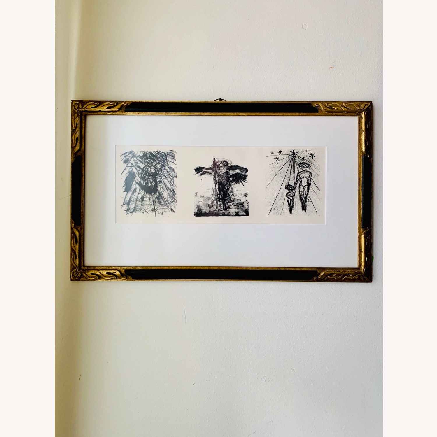 Vintage Triptych Abstract Drawings - image-0