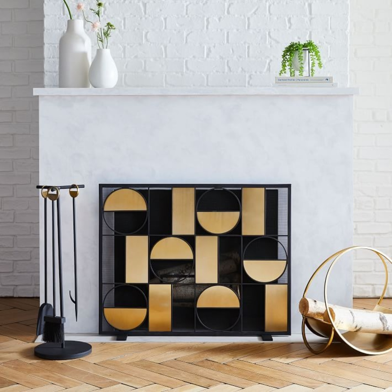 West Elm Cut Out Fireplace Tools - image-3