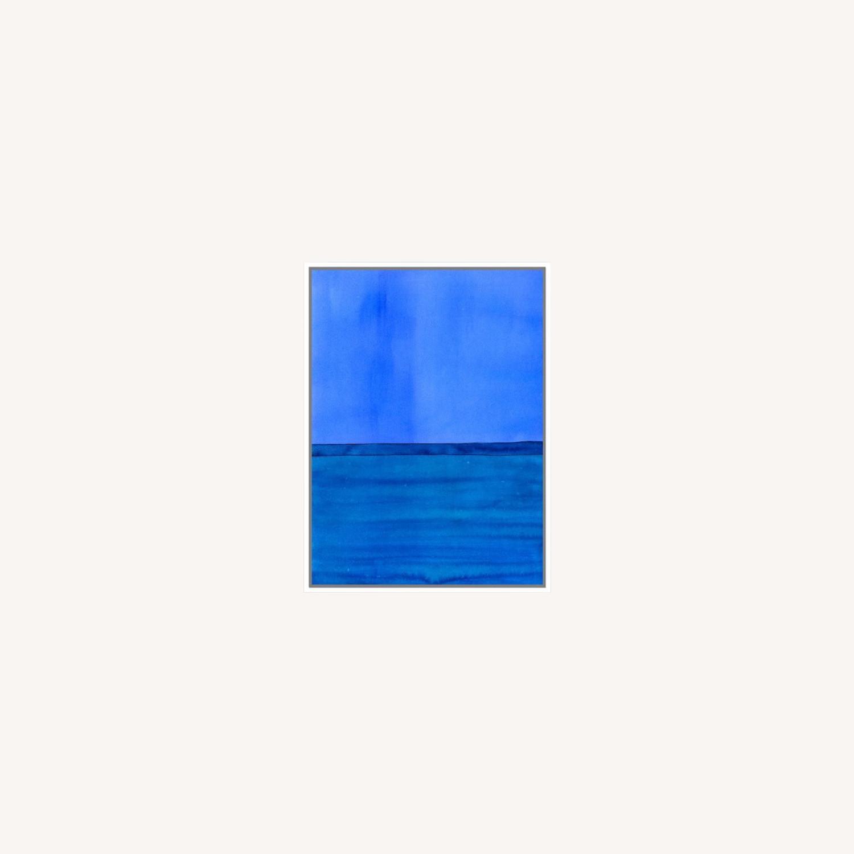 West Elm Roar + Rabbit Blue Framed Canvas - image-0