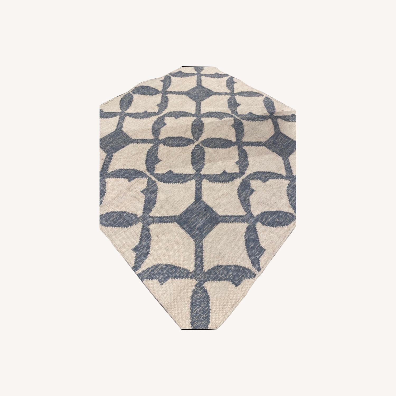 West Elm Tile Wool Kilim Rug 4x4 Blue Sage - image-0