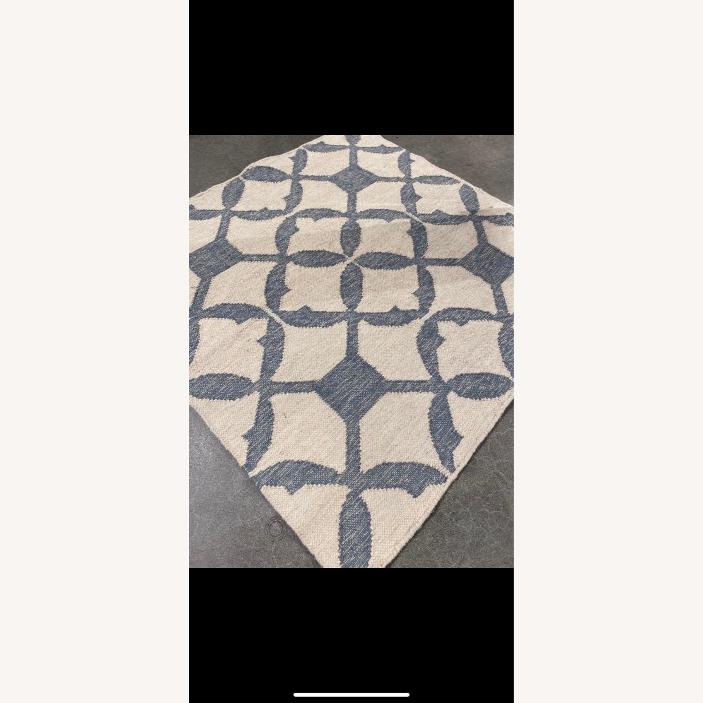 West Elm Tile Wool Kilim Rug 4x4 Blue Sage - image-3