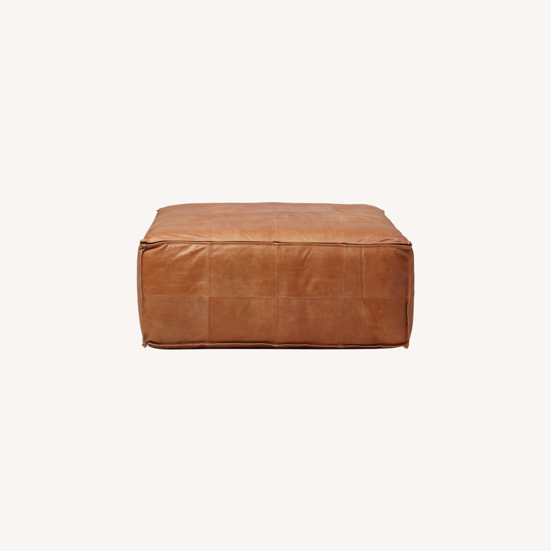 CB2 Large Leather Ottoman - image-0