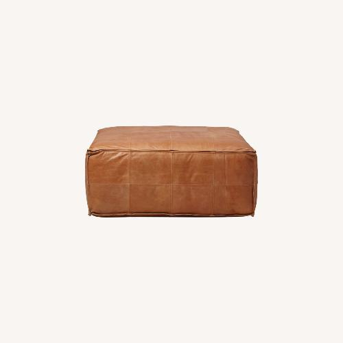 Used CB2 Large Leather Ottoman for sale on AptDeco