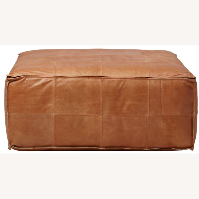 CB2 Large Leather Ottoman - image-1
