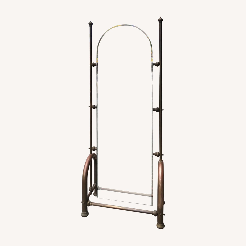 Antique 1940s Brass Floor-Standing Mirror - image-0
