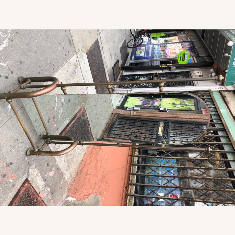 Antique 1940s Brass Floor-Standing Mirror - image-2