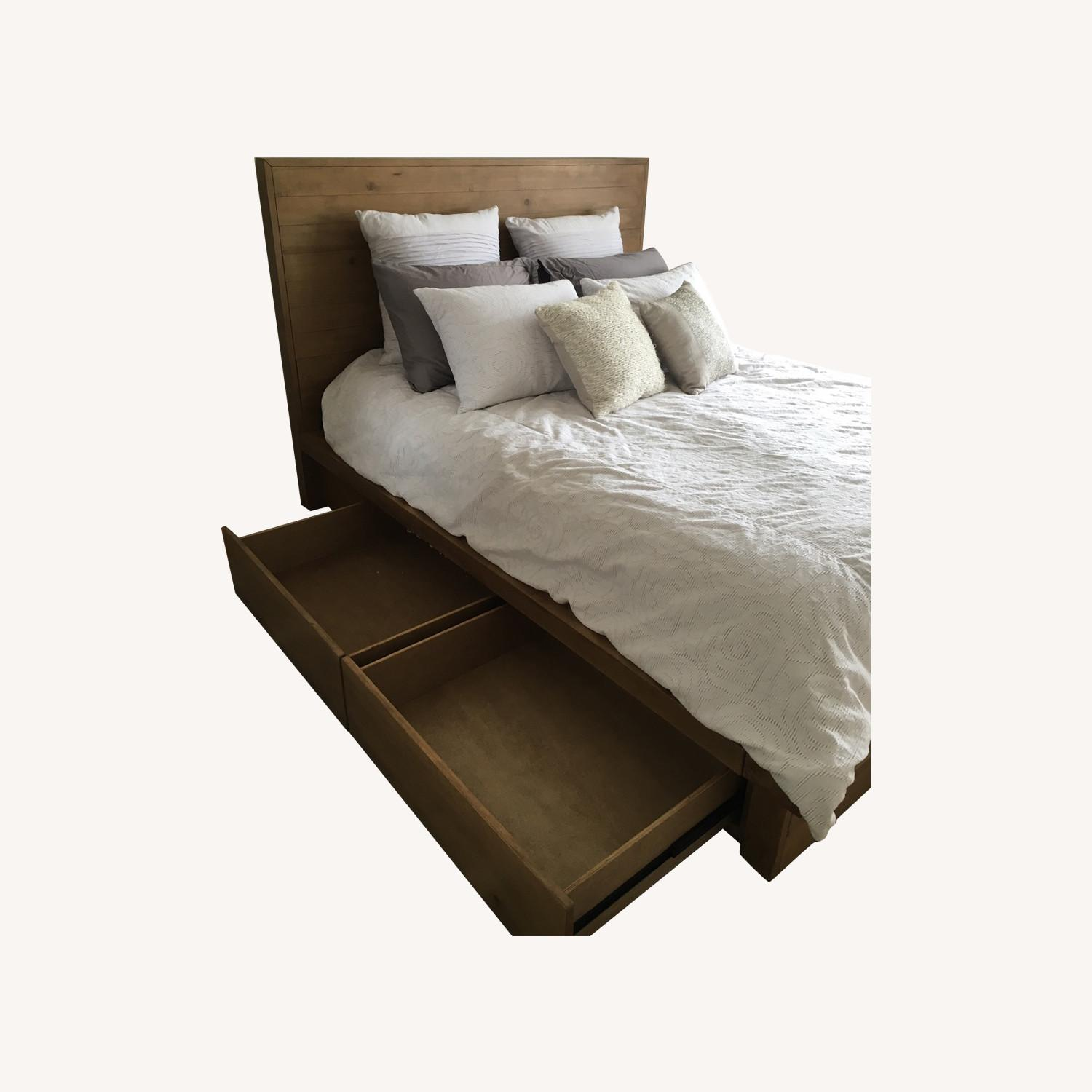 Macys Queen Wood Bedframe with Four Drawers - image-0