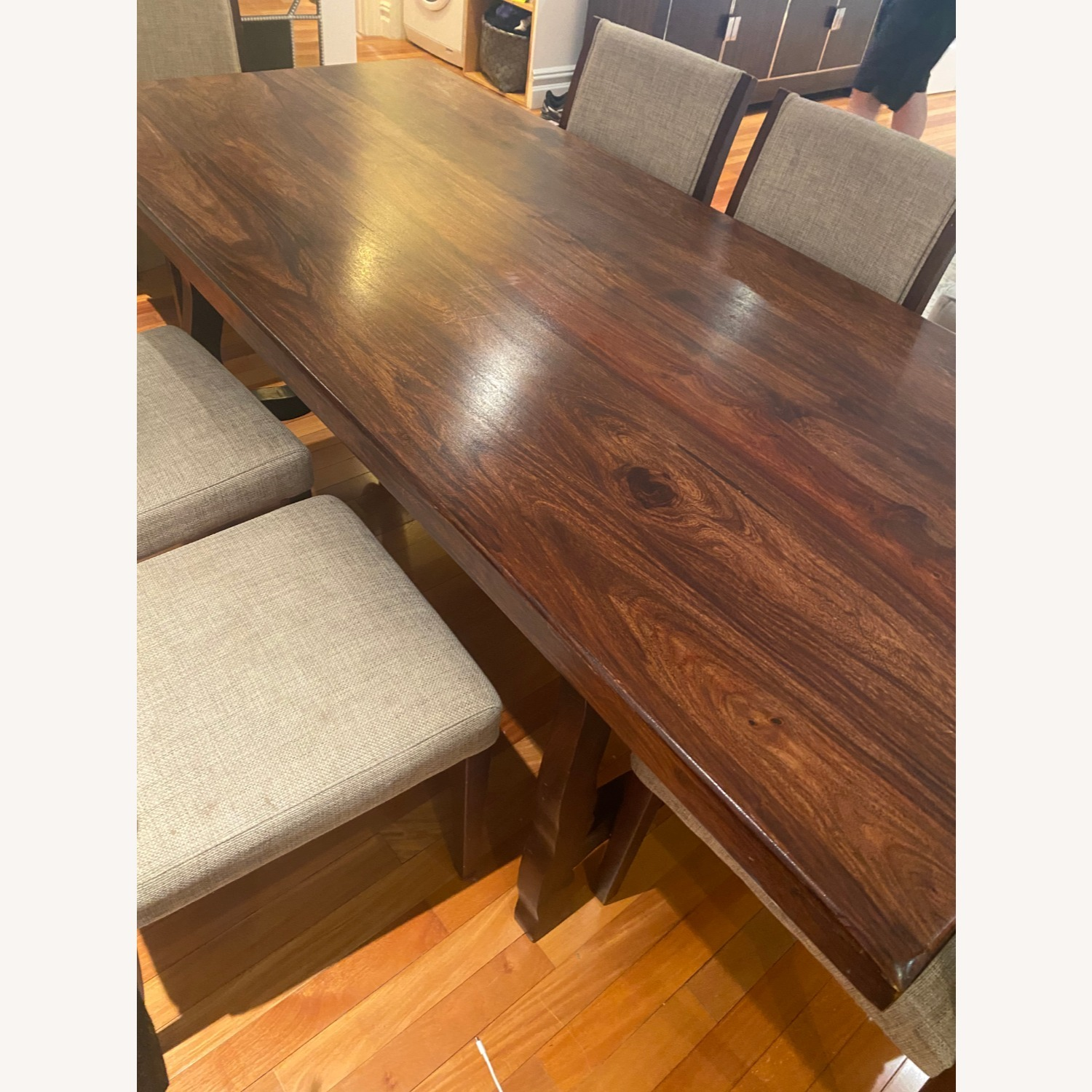 Pier 1 Imports Dark Wood Dining Table, Seats 6 - image-8