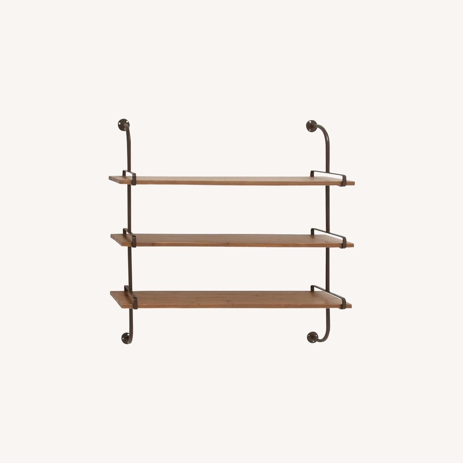 Wayfair Rustic Wood and Metal Wall Shelf - image-0