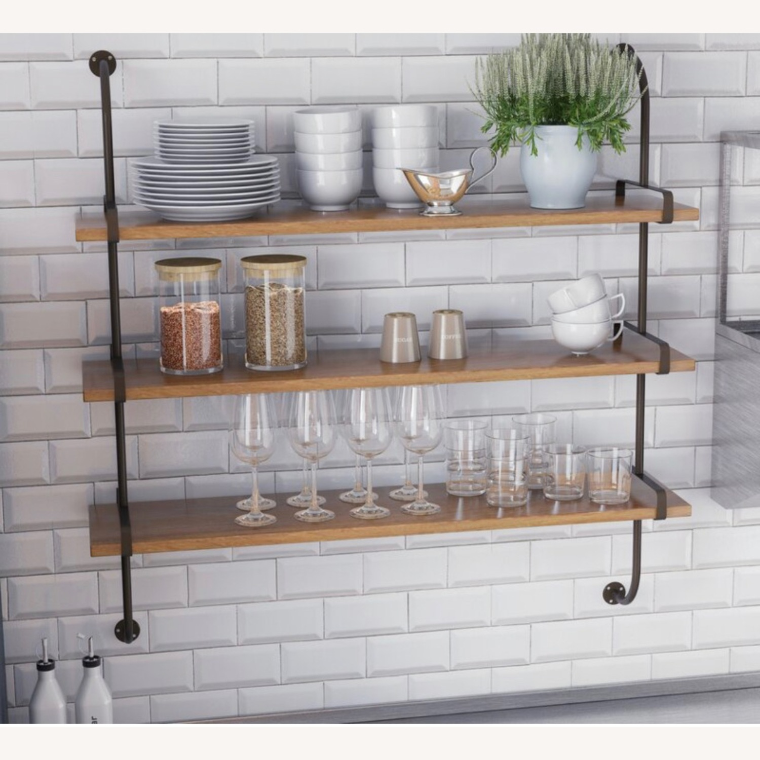 Wayfair Rustic Wood and Metal Wall Shelf - image-4