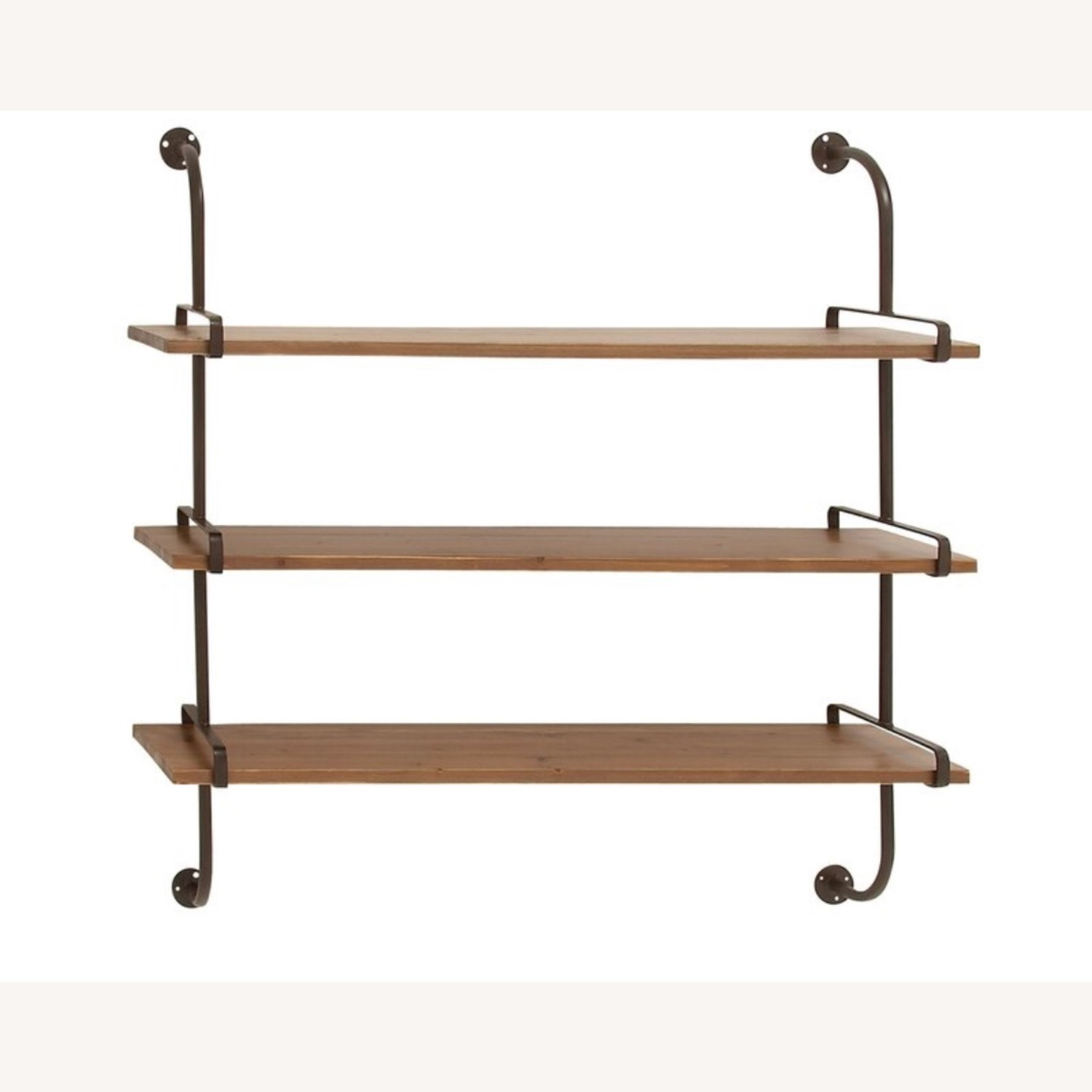Wayfair Rustic Wood and Metal Wall Shelf - image-1