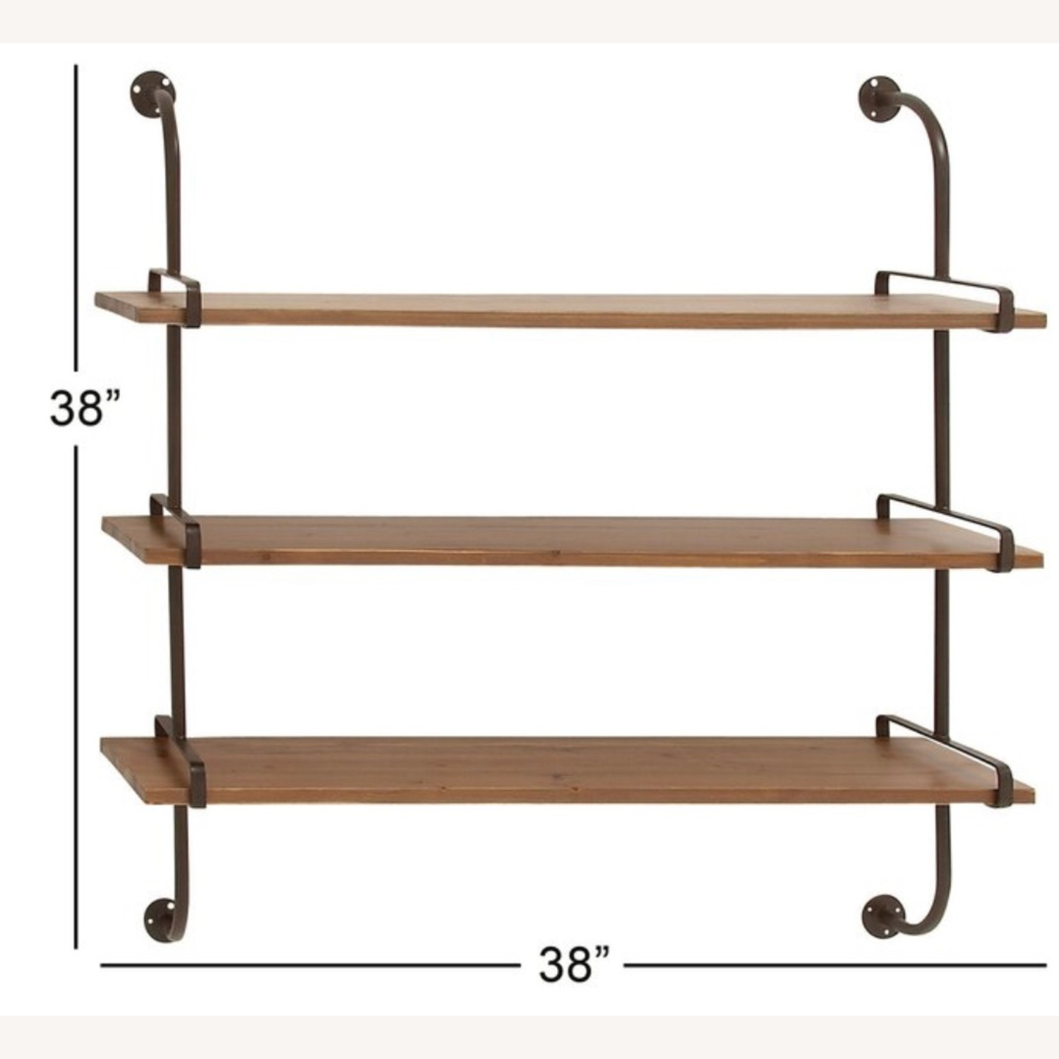 Wayfair Rustic Wood and Metal Wall Shelf - image-3