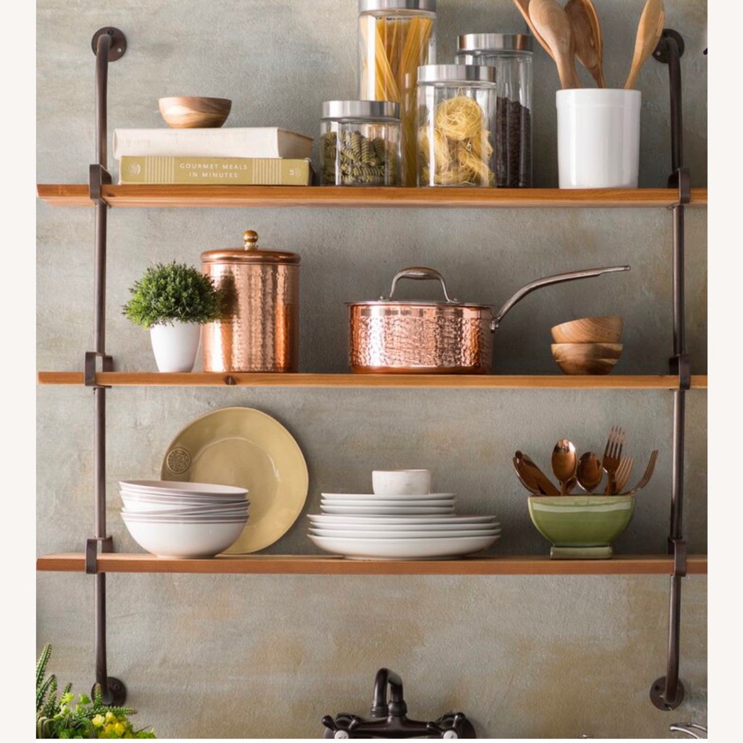 Wayfair Rustic Wood and Metal Wall Shelf - image-2