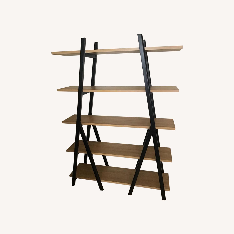 West Elm Ladder Bookshelf Wheat/Black - image-0
