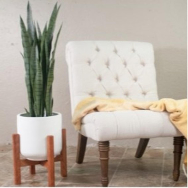 AllModern White/Walnut Brasfield Fiber Clay Pot Planter - image-1