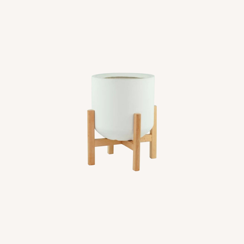 AllModern White/Walnut Brasfield Fiber Clay Pot Planter - image-0