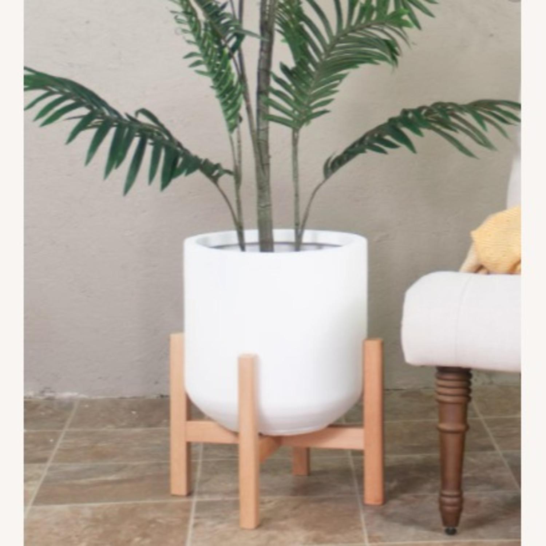 AllModern White/Walnut Brasfield Fiber Clay Pot Planter - image-3