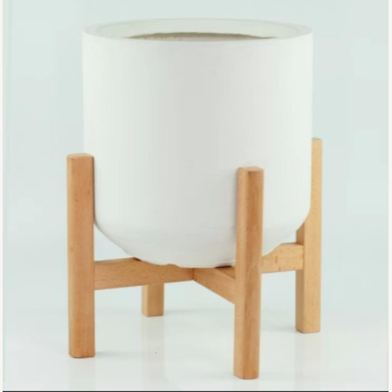 AllModern White/Walnut Brasfield Fiber Clay Pot Planter - image-2