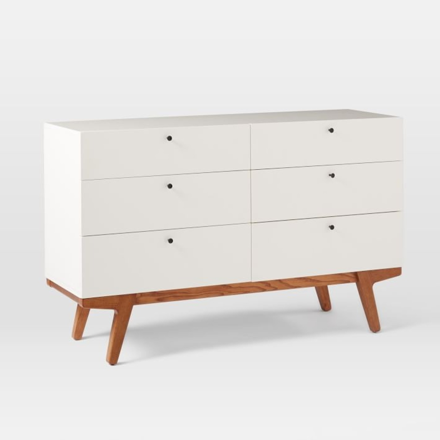 West Elm Modern 6-Drawer Dresser, White Lacquer - image-1