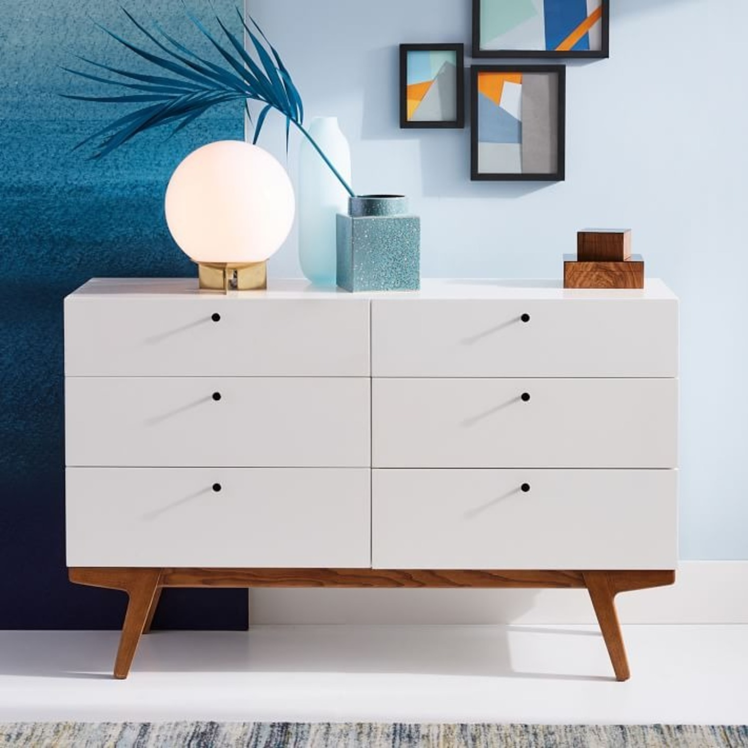 West Elm Modern 6-Drawer Dresser, White Lacquer - image-3