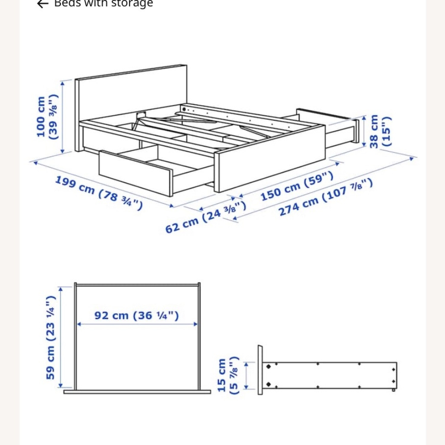 IKEA Malm High Full Bed Frame with Storage Boxes - image-3