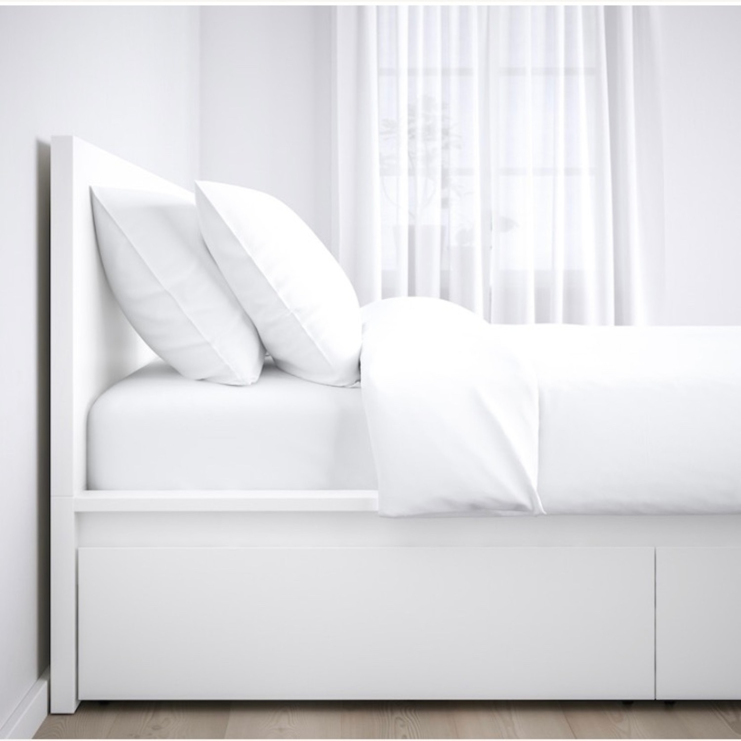 IKEA Malm High Full Bed Frame with Storage Boxes - image-1