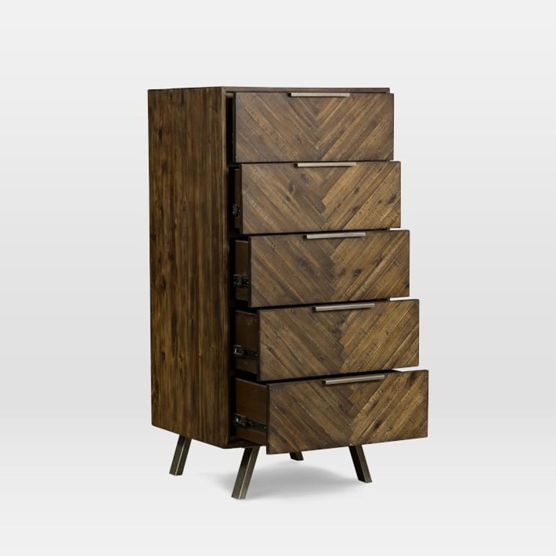 West Elm Parquet Block + Steel 5-Drawer Dresser - image-3