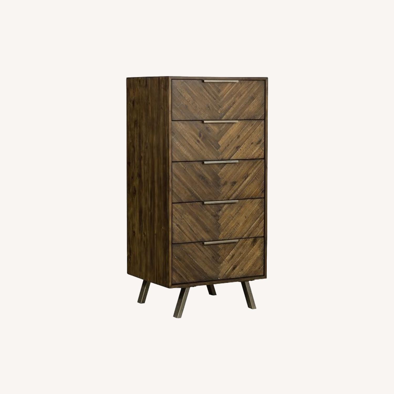 West Elm Parquet Block + Steel 5-Drawer Dresser - image-0