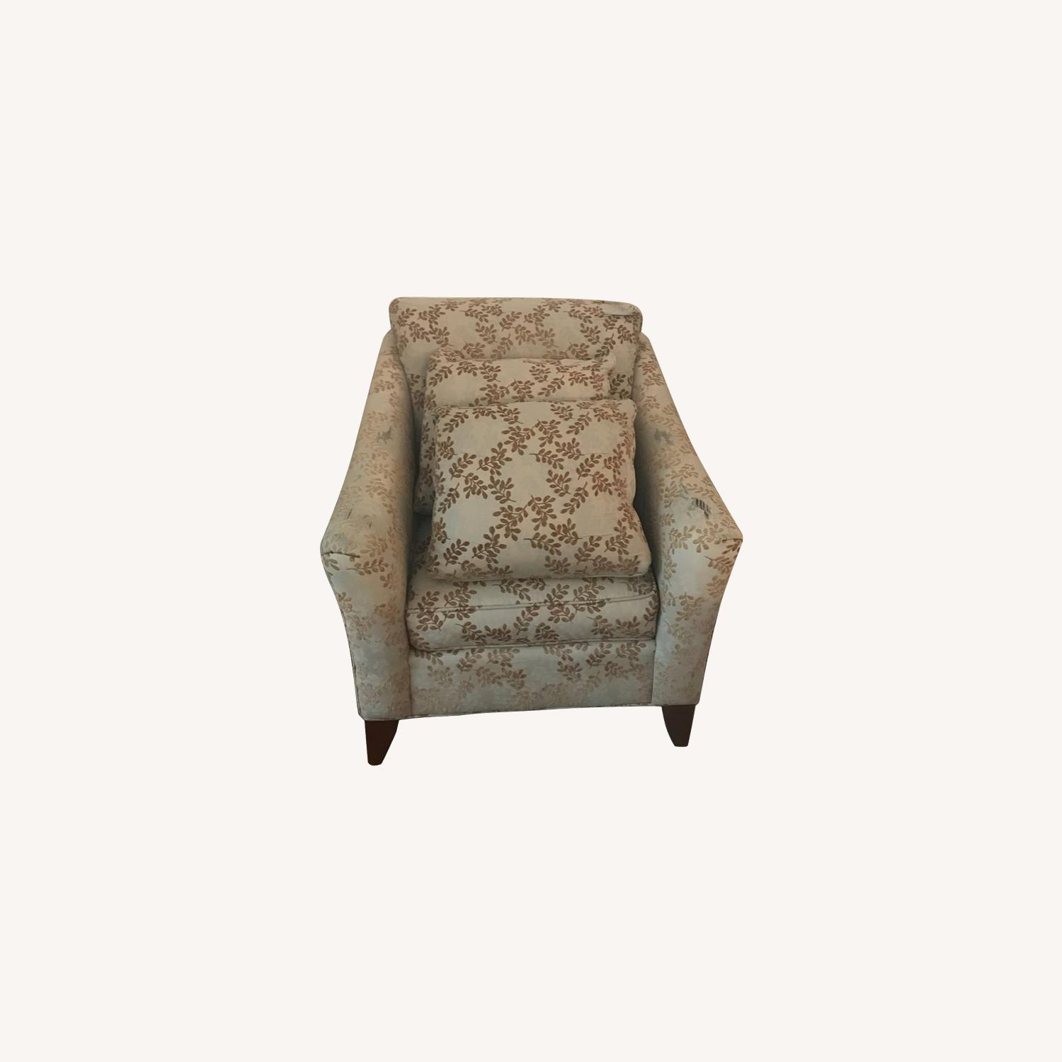 2 Ethan Allen Neutral Patterned Arm Chairs - image-0