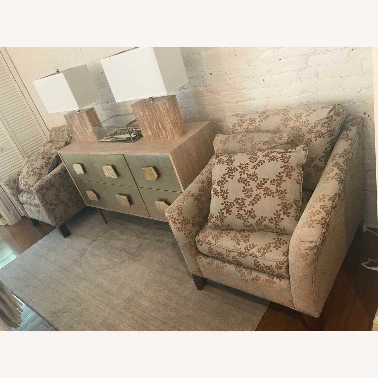 2 Ethan Allen Neutral Patterned Arm Chairs - image-5