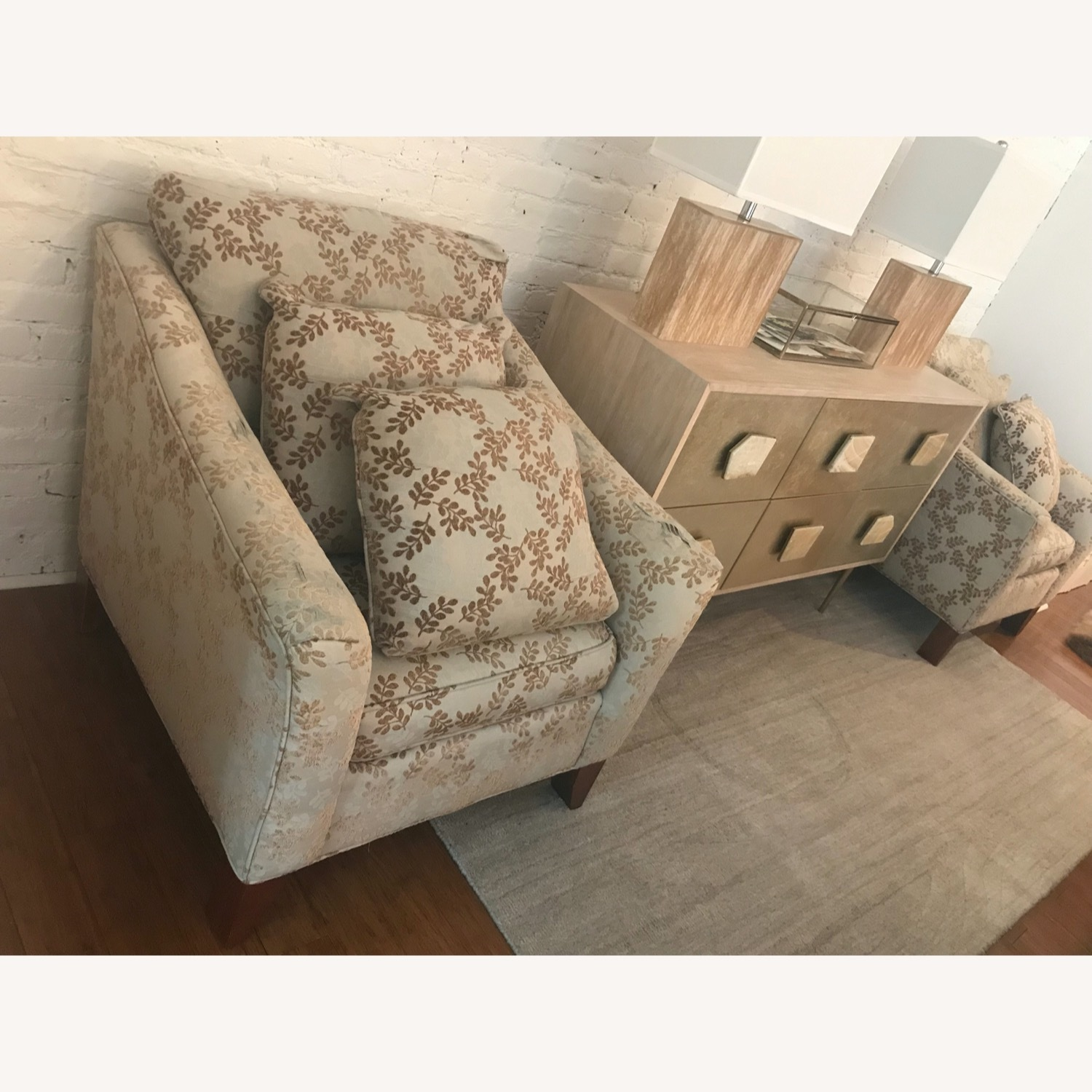 2 Ethan Allen Neutral Patterned Arm Chairs - image-2