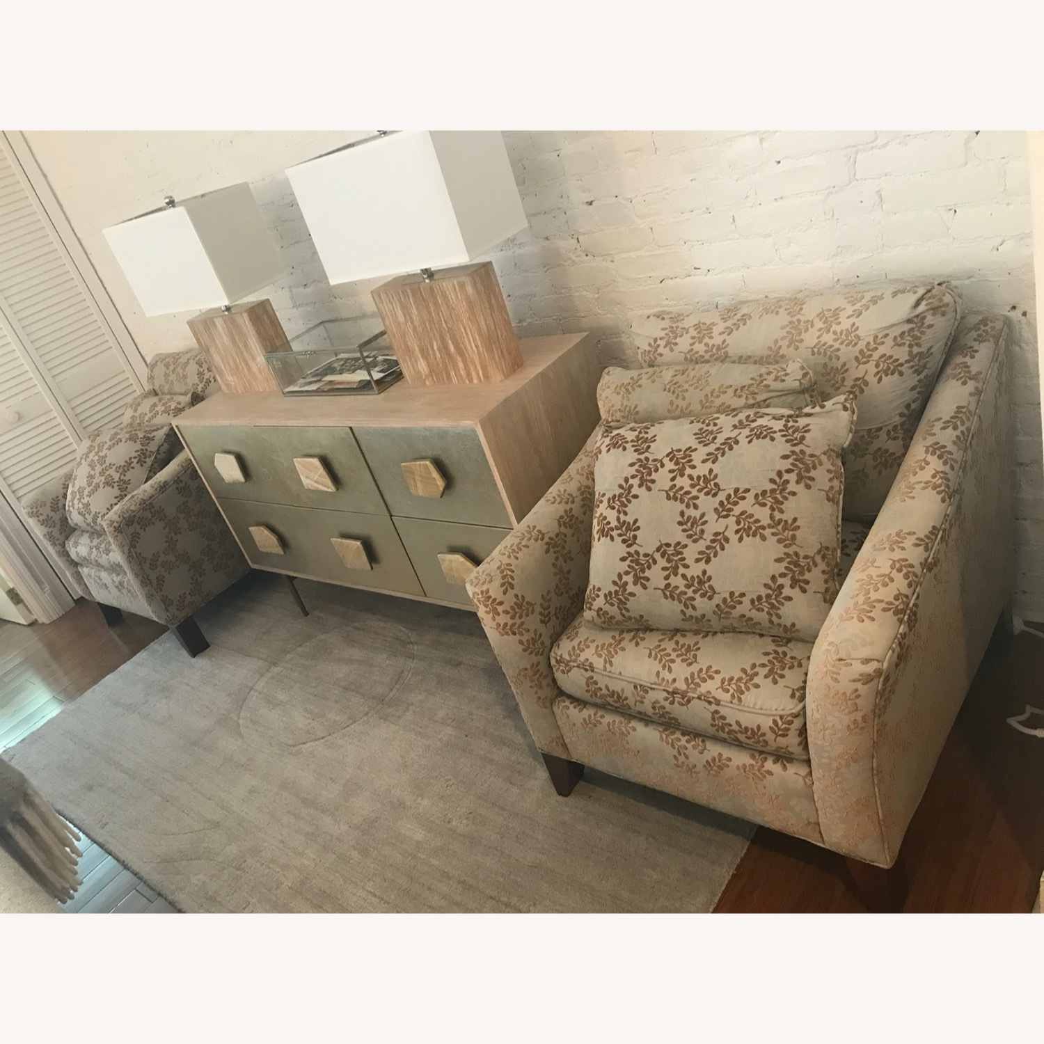 2 Ethan Allen Neutral Patterned Arm Chairs - image-6