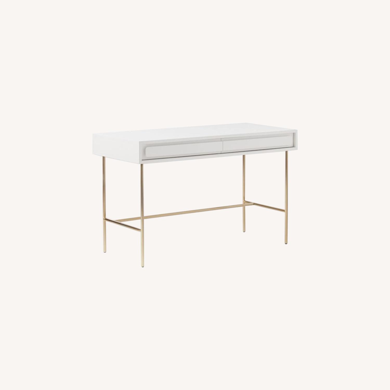 West Elm Gemini Desk, White Lacquer - image-0