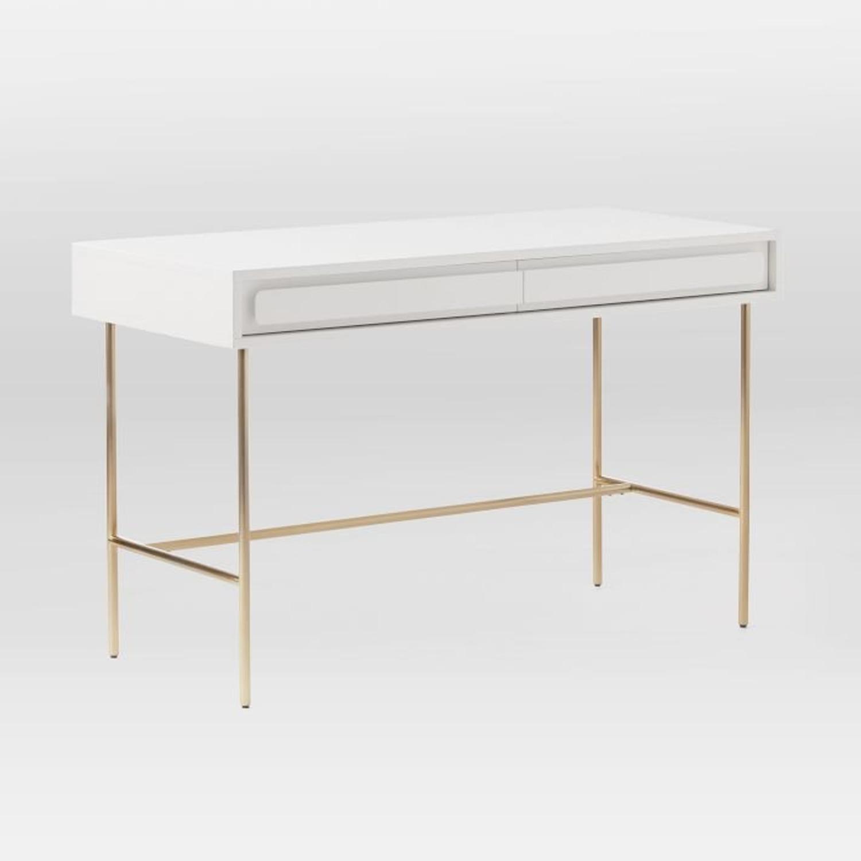 West Elm Gemini Desk, White Lacquer - image-1