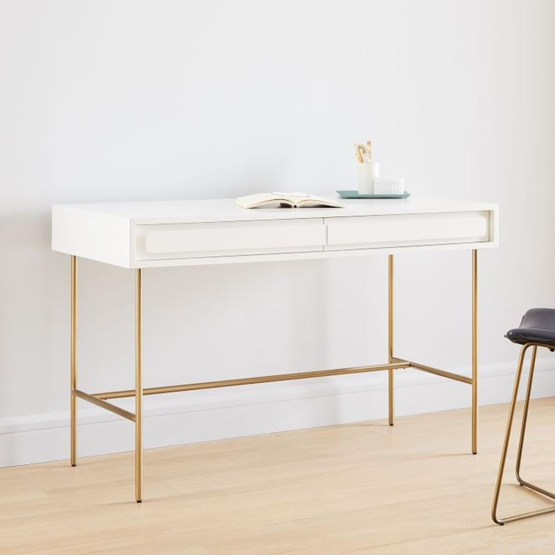 West Elm Gemini Desk, White Lacquer - image-2