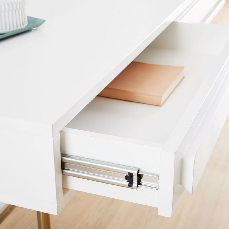 West Elm Gemini Desk, White Lacquer - image-4