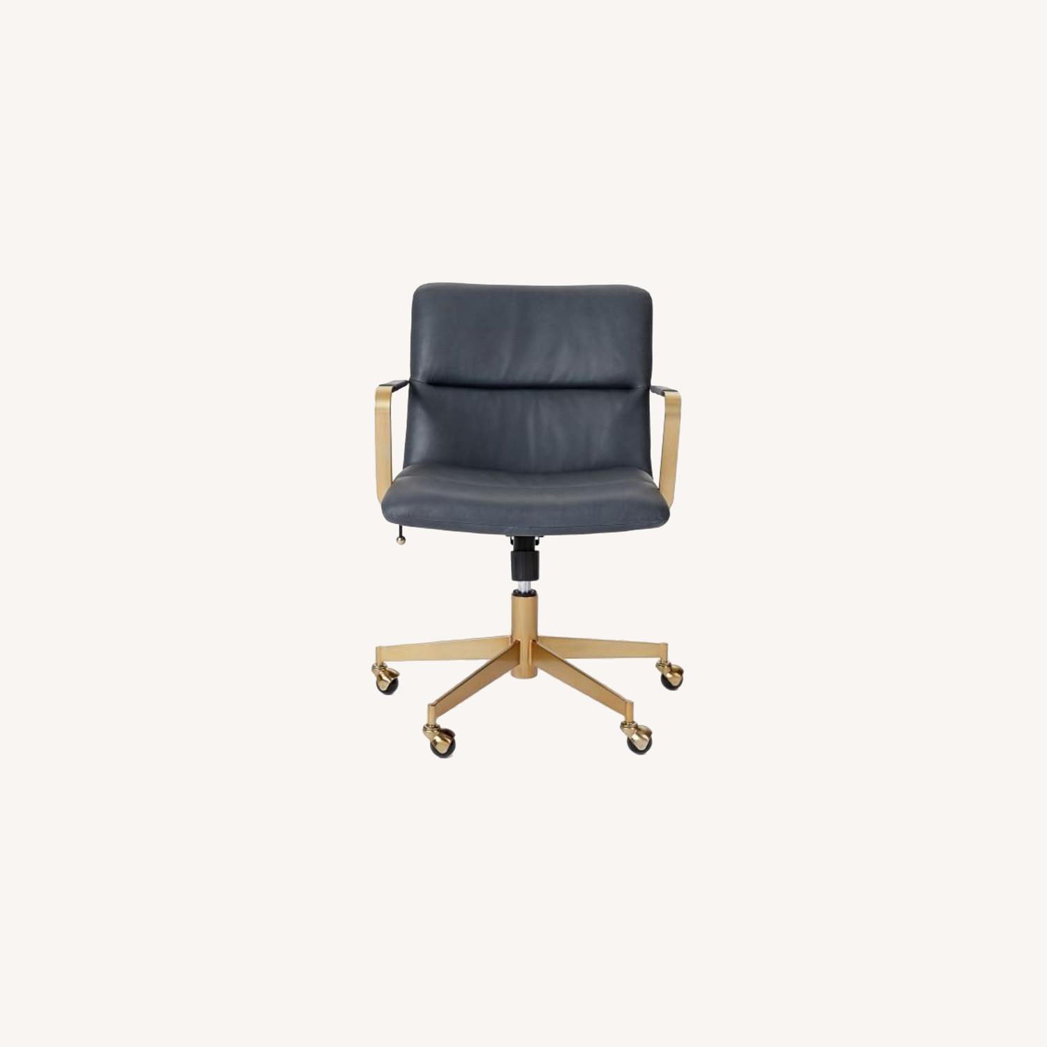 West Elm Copper Mid-Century Leather Office Chair - image-0