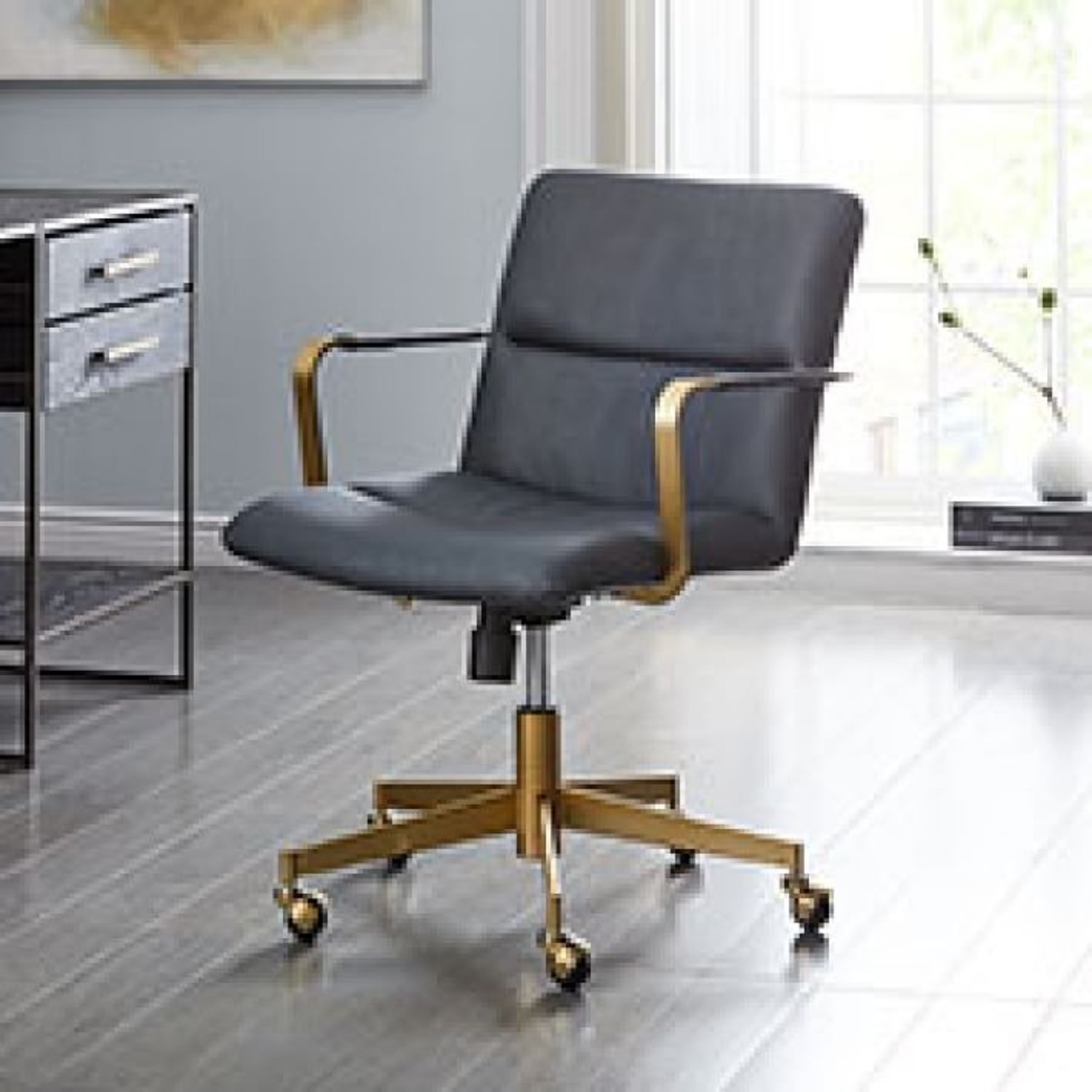 West Elm Copper Mid-Century Leather Office Chair - image-2