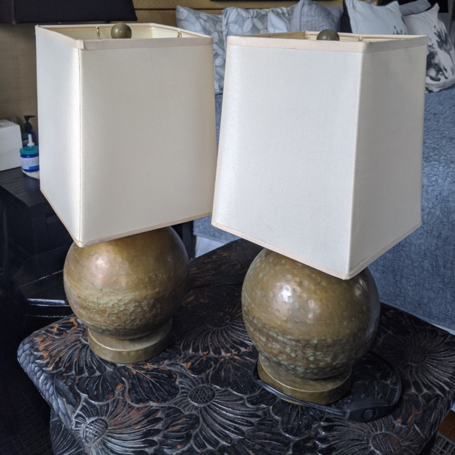 Crate & Barrel Pair of Brass Lamps with Silk Shades - image-1