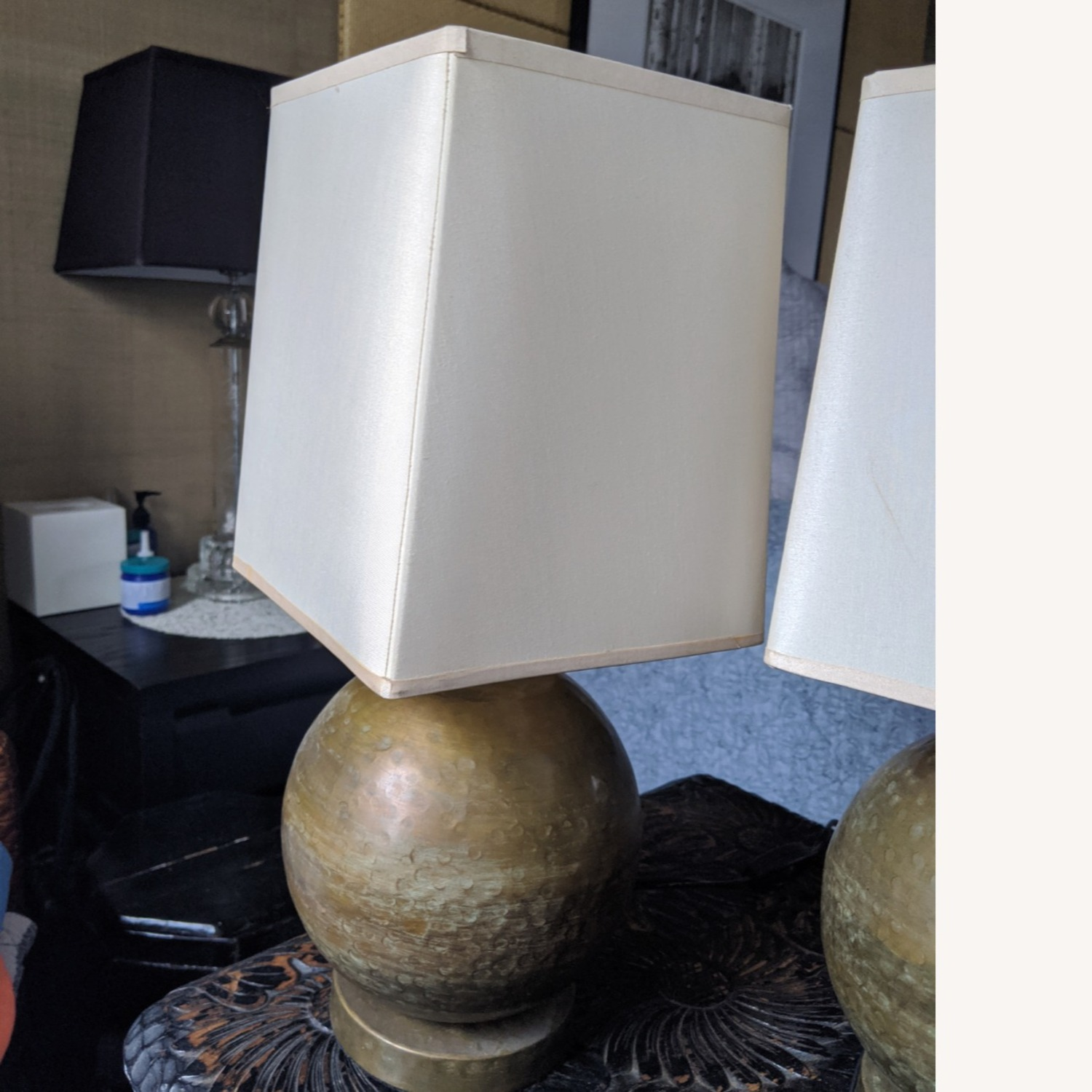 Crate & Barrel Pair of Brass Lamps with Silk Shades - image-2