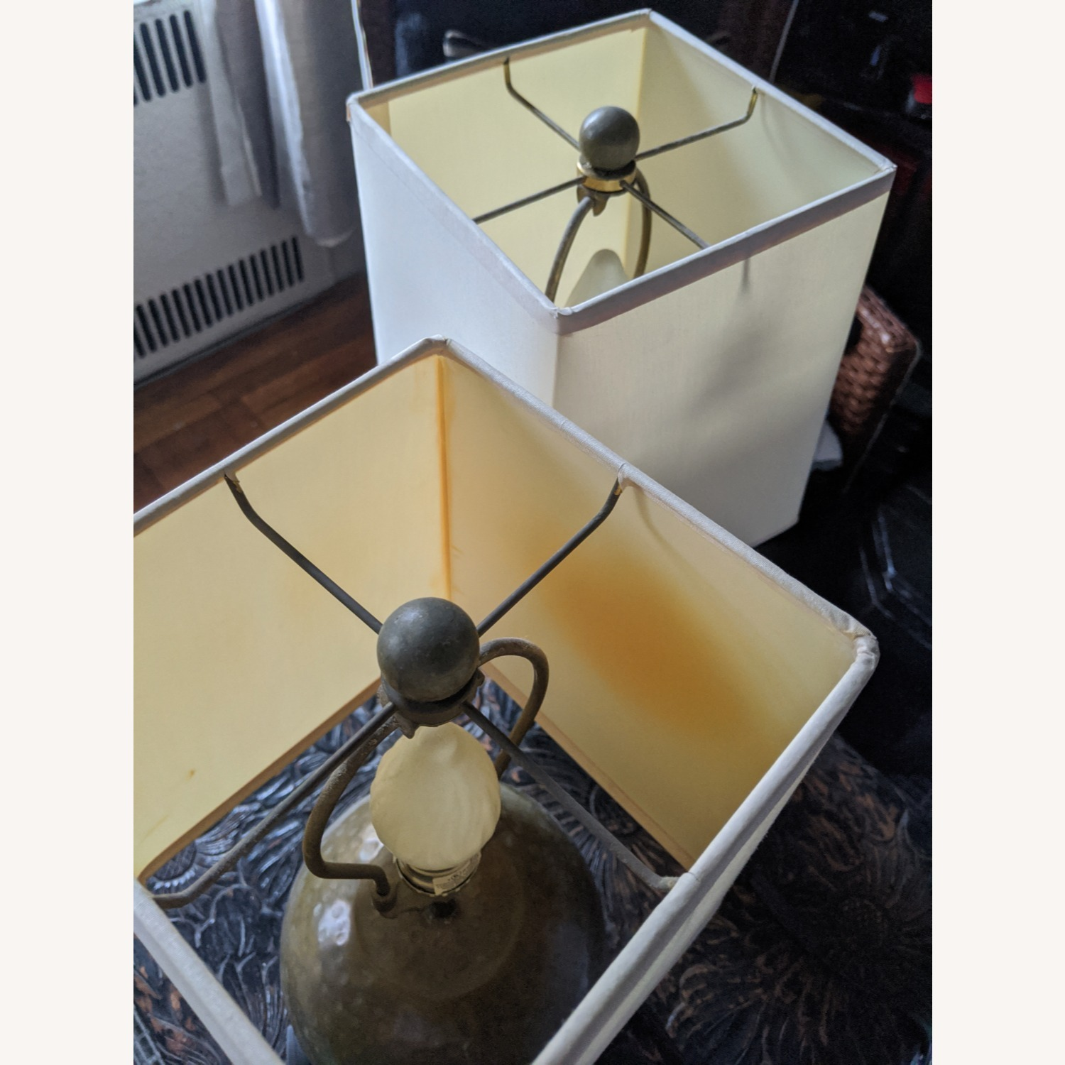 Crate & Barrel Pair of Brass Lamps with Silk Shades - image-3