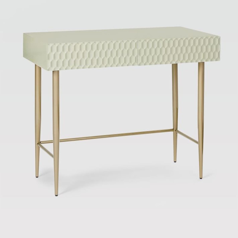West Elm Audrey Mini Desk, Parchment - image-0
