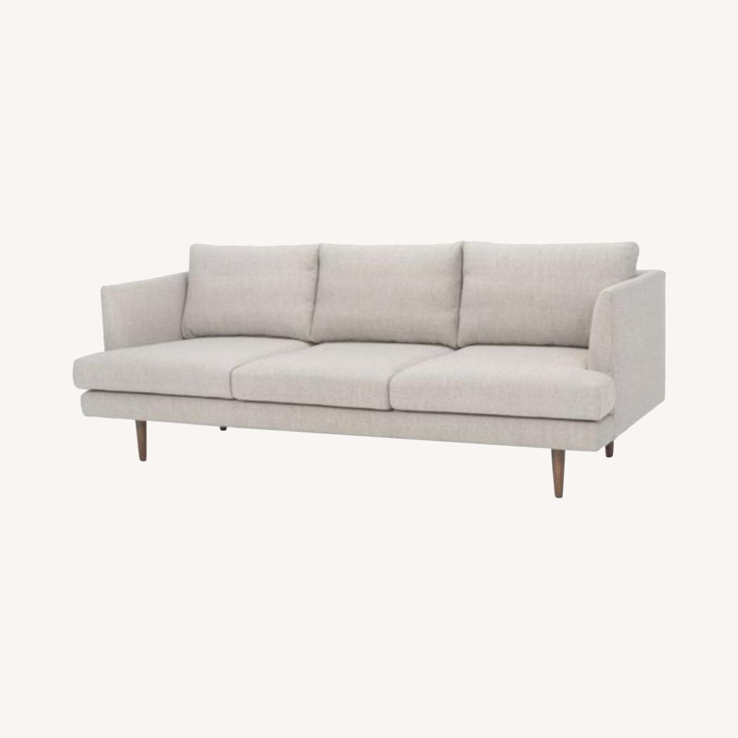 Comfortable Mid-Century Modern Light Grey Couch - image-0