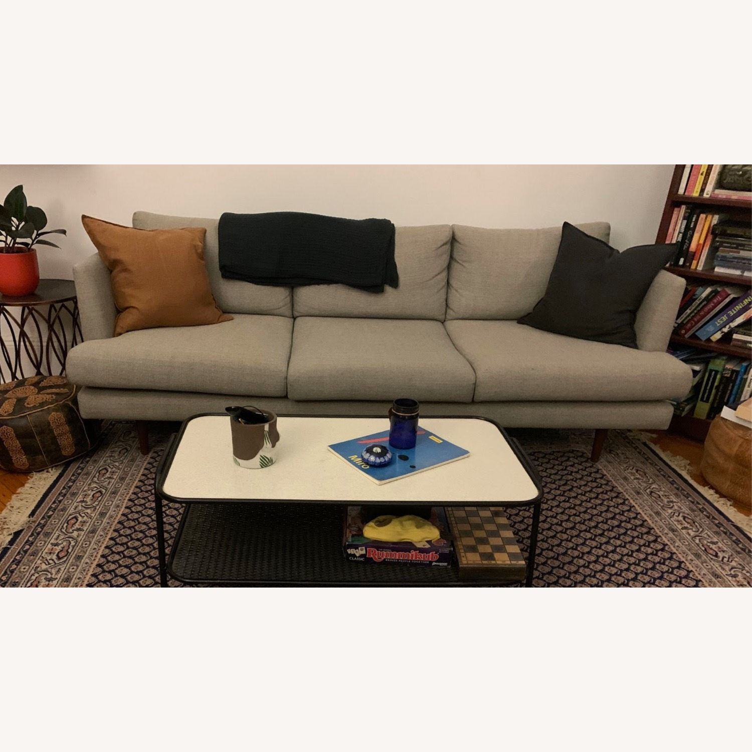 Comfortable Mid-Century Modern Light Grey Couch - image-2