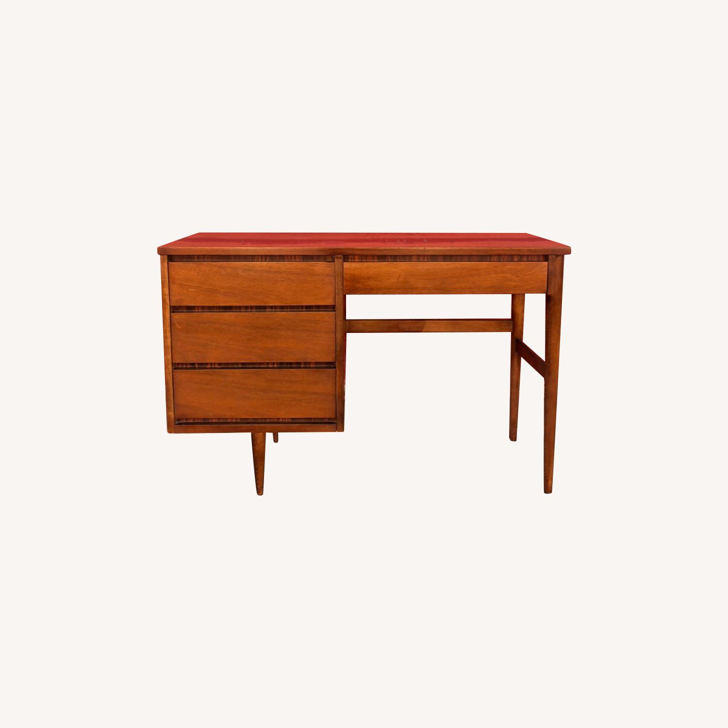 Mid Century Four Drawer Writing Desk - image-0