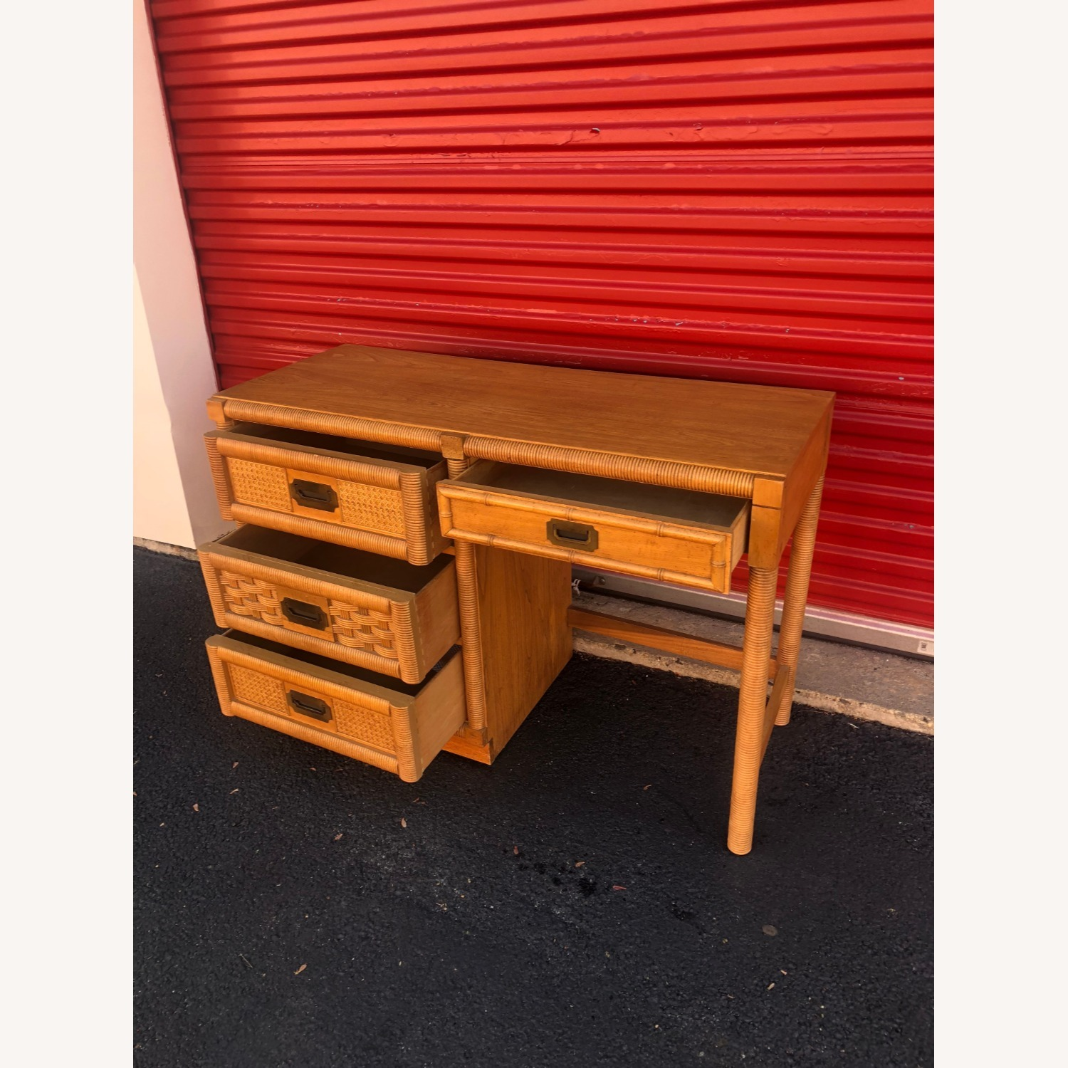 Vintage Campaign Style Writing Desk with 4 Drawers - image-10
